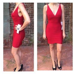 Herve Leger Dresses & Skirts - Herve Leger red v-neck bandage dress medium NWT