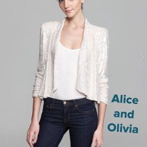 Alice and Olivia White Sequin Jacket