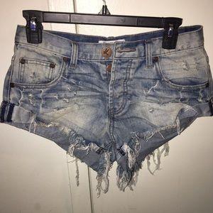 "One Teaspoon ""Blue Jack Bandit"" denim shorts"
