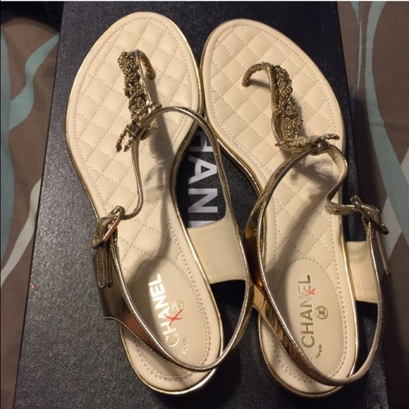 550e6f9af CHANEL Shoes - Chanel Metallic Gold Chain Crystal Thong Sandal