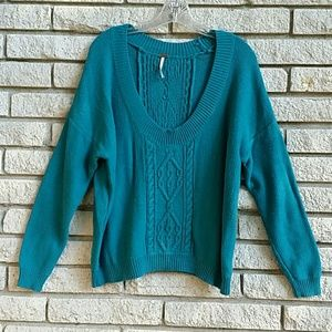 FREE PEOPLE TEAL SWEATER  SMALL