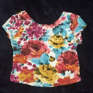Ambiance Apparel Tops - Floral crop top