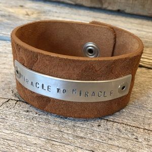 Jewelry - Handmade leather & stamped metal cuff