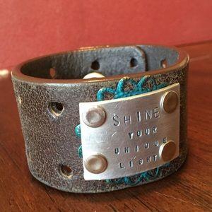 Jewelry - Custom stamped leather cuff bracelet