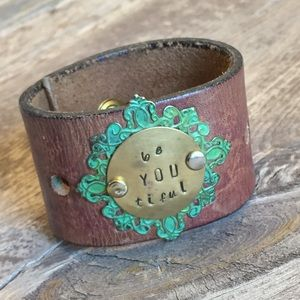 Jewelry - Hand Stamped Vintage Leather Cuff Bracelet