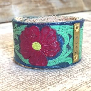 Jewelry - Hand Painted & Stamped Floral Leather Cuff