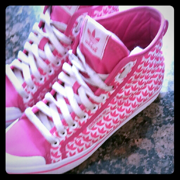 Rare Hard to Find ADIDAS pink womens hightops