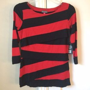 Vince Camuto Tops - 🎉HP🎉 Vince Camuto | NWT Red Black Stripe Top