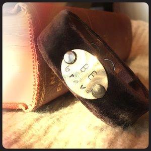 Jewelry - Velvet & Leather Cuff Bracelet - Be Brave