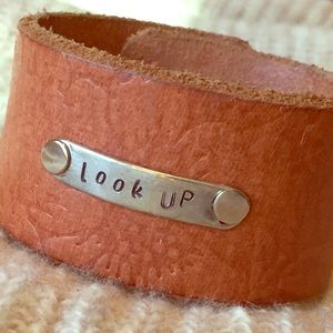 Jewelry - Floral Embossed Leather Cuff Handmade