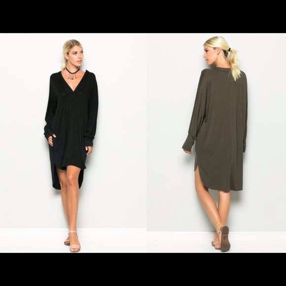 d943348a22 Black V Neck Long Sleeve Dress S M