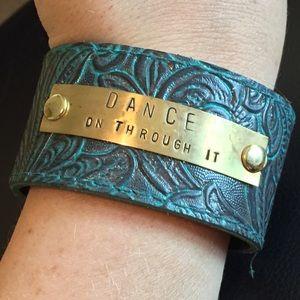 Jewelry - Textured Teal & Chocolate Dance Cuff Bracelet