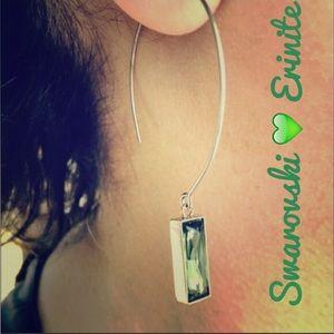 Swarovski Erinite Green Crystal Open-Hoop Earrings