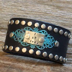 Jewelry - Biker Chic! Studded Black Leather Cuff