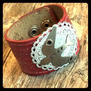 Jewelry - Polka Dot & Bird Red Leather Cuff