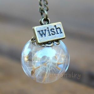 Jewelry - Real dandelion make a wish necklace
