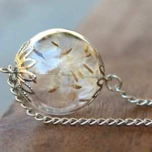 Jewelry - Beautiful real dried dandelion necklace