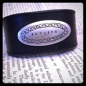 Jewelry - Inspire Stamped Black Leather Cuff