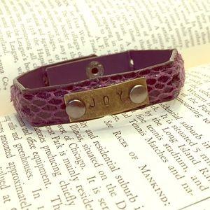 Jewelry - Joy Plum Croc Leather Cuff Bracelet