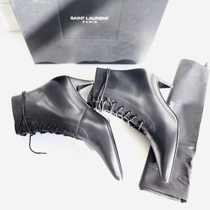 Saint Laurent Shoes - YSL Cat Lace-Up Boots size 38