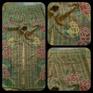 Johnny Was Pants - Two Ten Ten Five BIYA Plaid  Embroidered Pants