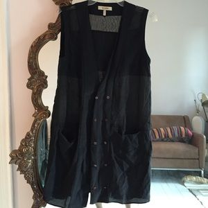 Whyred Tops - Whyred 100% silk button sheer panel vest dress