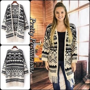 Pretty Persuasions Sweaters - Geometric Cream Black Fringe Hem Slouchy Cardigan