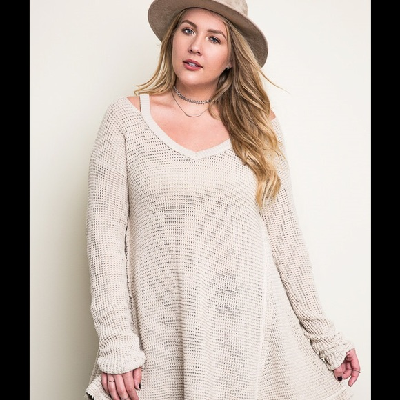 30 Off Tops Plus Size Waffle Knit Cold Shoulder Sweater