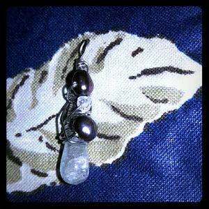 Original Retro Brand Jewelry - Sale Goshinite aquamarine and pearl pendant ooak