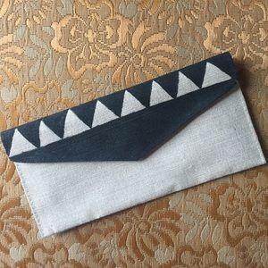 Handbags - Geometric Jute Clutch Wallet