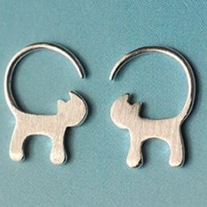 Sterling silver cat tail earrings meow!