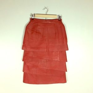 Vintage Red Leather Tiered Skirt