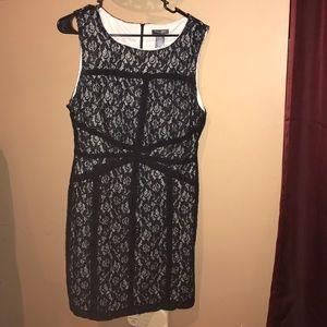 Bisou Bisou sleeveless black lace sheath dress