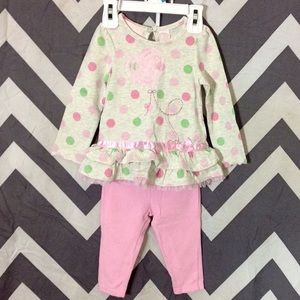 Kids Headquarters Other - Pink & Green Polka Dot Set - 12 Months