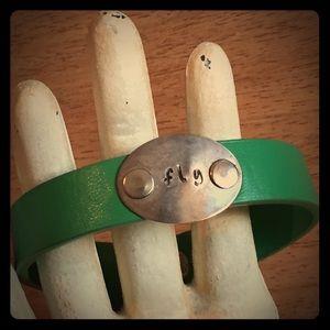 Jewelry - Fly Green vegan leather bracelet cuff