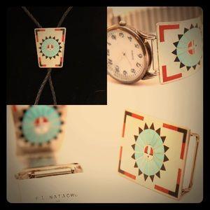 Jewelry - F.L.Natachu Sun Face Zuni Inlaid Set
