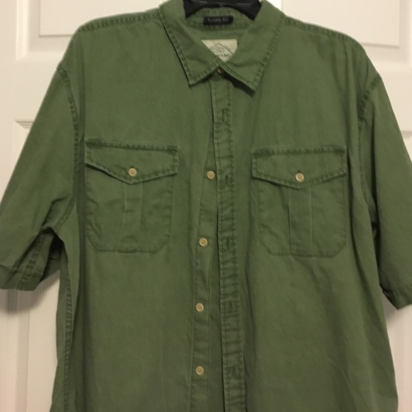 St Johns Bay Shirts Big Sale Mens Olive Green Button Down Shirt
