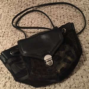 Small black leather and mesh purse