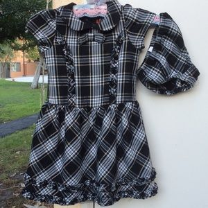 Black Gold Plaid Ruffle Tulle Holiday Dress