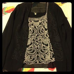 Onyx Tops - Onyx Beaded Top with sheer jacket