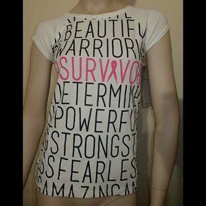 Ideology Tops - Ideology Breast Cancer Survivor White Shirt XS