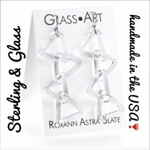 Roxann Slate Jewelry - Stunning Sterling & Glass Triangle Linked Earrings