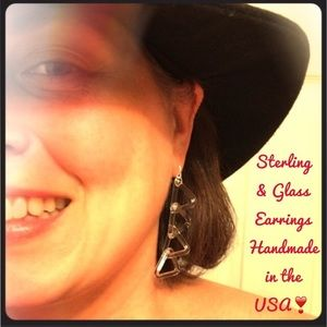 "Roxann Slate Jewelry - 2"" Long 💕 Sterling & Borosilicate Glass Earrings"