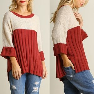 1 HR SALEDANICA color block sweater top - RUST