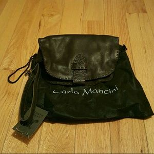 NWT Carla Mancini Brown 100% Leather Wristlet