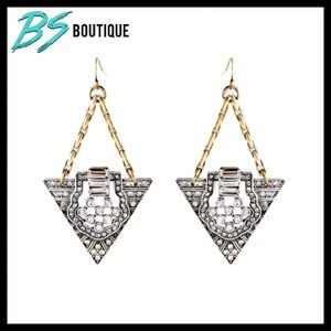 LAST ONE Crystal Bling Triangle Earrings Gift