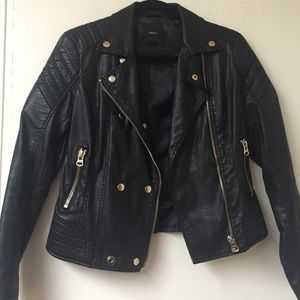 Jackets & Blazers - Biker Moto Leather Jacket with Gold Buttons