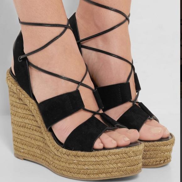 saint laurent shoes yves black suede espadrille wedge poshmark rh poshmark com
