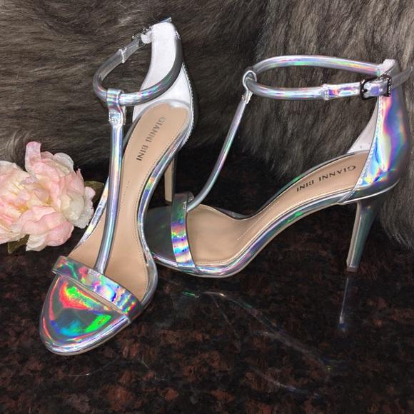 056c81fb9c0 Gianni Bini Iridescent Holographic Heels 🍾