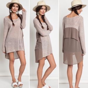 ❣️S M L❣️ Mocha Back Layered Light Weight Knit Top
